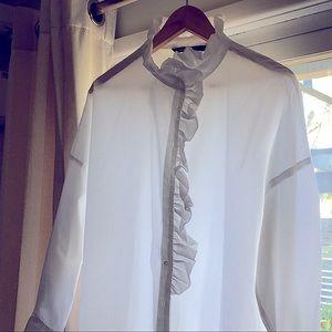 ZARA White Cotton Frill shirt